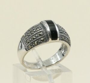 Sz-7-Vtg-Sterling-Silver-Handmade-Ring-925-Silver-Band-W-Obsidian-N-marcasite