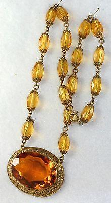 Vtg Czech Art Deco Antique Amber Color Czech Glass
