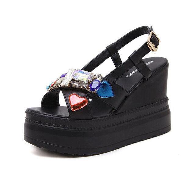 Sandali eleganti  bianco Colorate 10 negro platform  pelle sintetica 9940