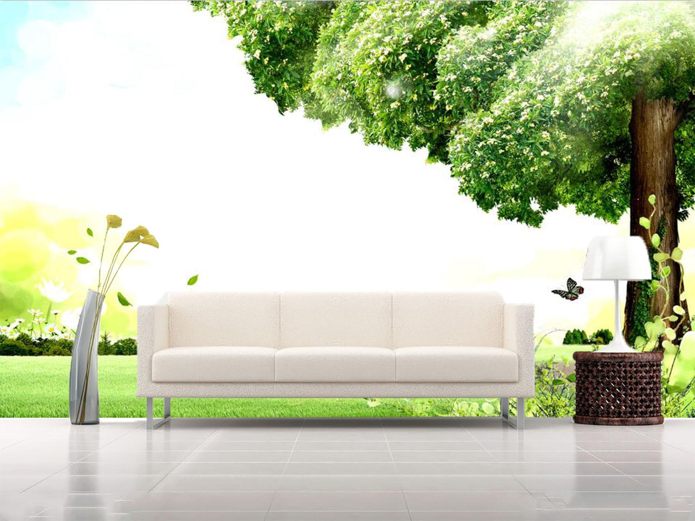 3D alberi verdi 6 Parete Murale Foto Carta da parati immagine sfondo muro stampa