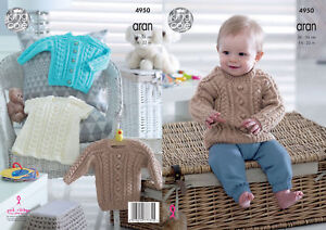 Knitting Pattern King Cole Baby Aran Cable Knit Jumper Cardigan