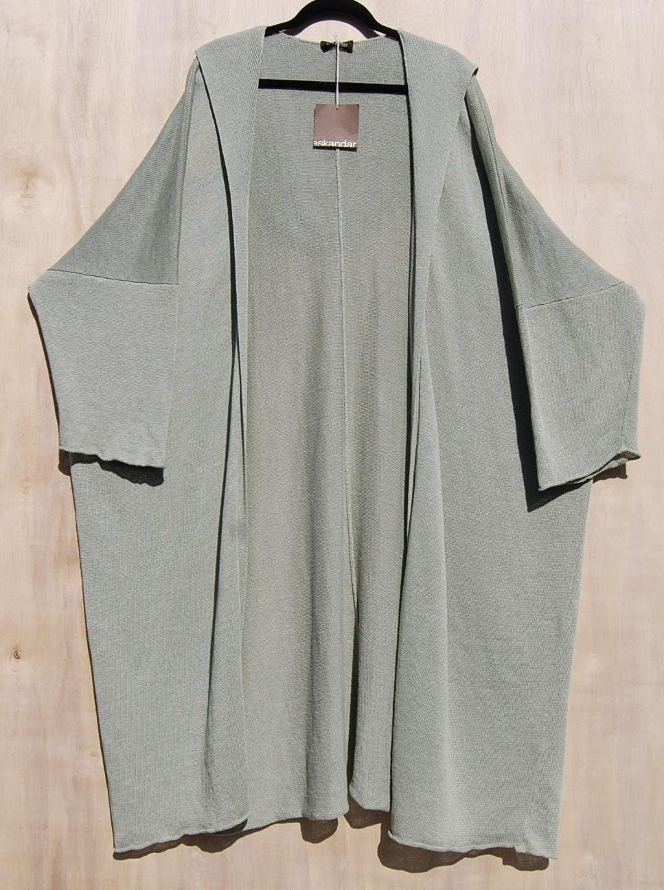 NWT Eskandar SAGE Light Weight Linen Knit Hooded 46  Long Cardigan O S