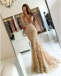e965a6822af Image is loading 2017-Champagne-Long-Mermaid-Evening-Dress-Prom-Dress-