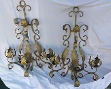 Vintage Ornate designer Pair  gold Iron Wall Sconces  candelabras french