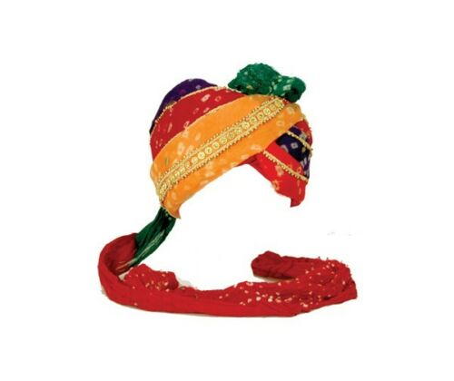 Indian Panchrangi Safa Turban Wedding Hat w// Scarf Tail Great Halloween Costume