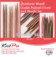 KnitPro Symfonie Wood Double Pointed Sock Needle Set 2 - 4mm length 15cm