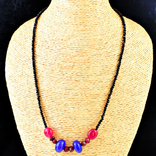 Details about  /90.00 Cts Earth Mined Faceted Spinel Ruby /& Sapphire Beads Necklace NK 31E118