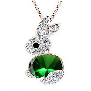 14CT-Rose-Gold-Over-Emerald-Cute-Lucky-Rabbit-Bunny-Pendant-18-034-Chain-Necklace