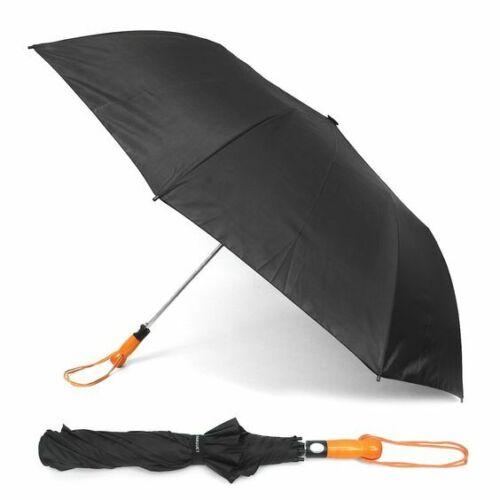 Black Telescopic Umbrella with Wooden Handle Auto Open