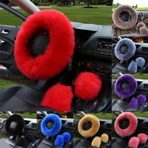 3Pcs-Set-Car-Long-Plush-Warm-Steering-Wheel-Cover-Woolen-Universal-Cove-U