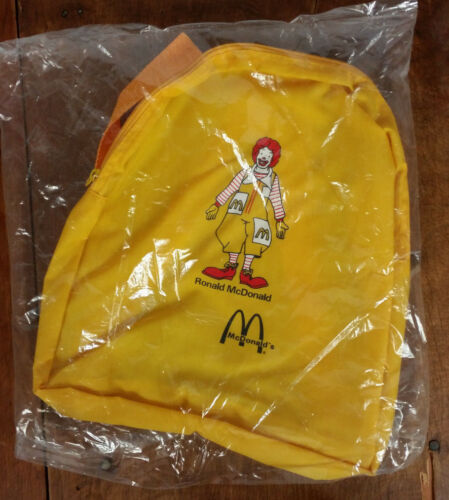 NOS Vintage 80s Retro Mcdonalds Rope Backpack Small Mini Ronald Yellow