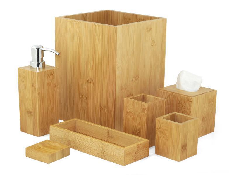 BAMBÙ SET 7 PEZZI PER DA BAGNO WC TOILETTE CESTINO DISTRIBUTORE DI SAPONE VASSOI