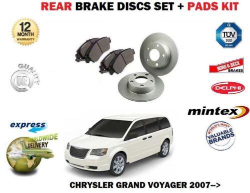FOR CHRYSLER GRAND VOYAGER  2.8DT 3.8i 9//2007-/> REAR BRAKE DISCS DISC PADS SET