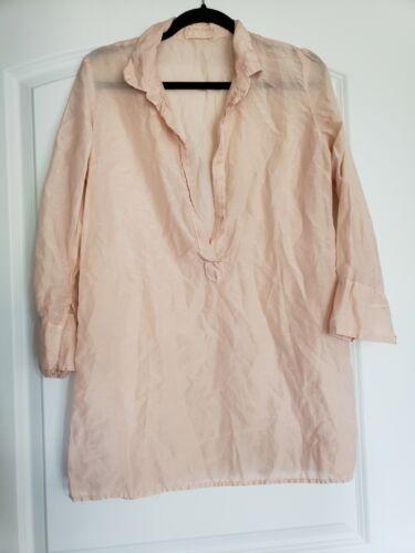 CP Shades Linen Popover Shirt Blouse Light Pink Li