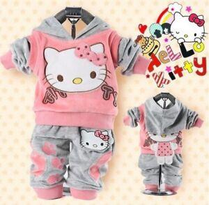 Bnwt-Hello-Kitty-Baby-Bambina-Vestito-Set-Tuta-da-Ginnastica-Rosa-Giallo-e-blu-0-36mths
