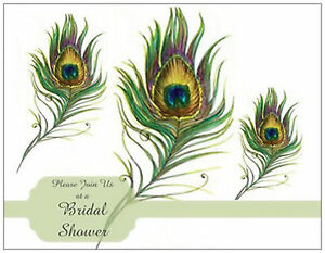 WEDDING-Bridal-SHOWER-3-PEACOCK-FEATHERS-Postcards-or-Flat-Cards-Env-Seals