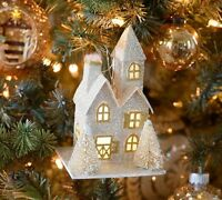 Pottery Barn Lit Glitter House Ornament Silver