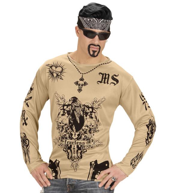 Latino Gangster Tatuaggio Camicia Costume Rapper Top M//L da Uomo Adulto