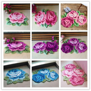 3D-Handmade-Rose-Flower-Carpet-Non-Slip-Area-Rug-Bedroom-Living-Room-Floor-Mat