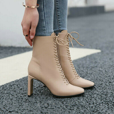 Ladies Lace Up block Heel Square Toe Ankle Boots Party Club Shoes Plus Size New