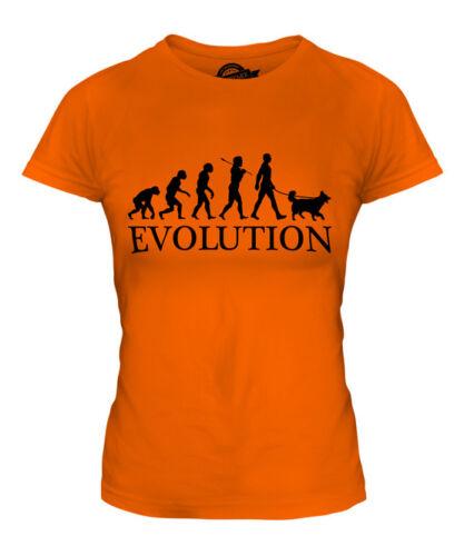 COLLIE EVOLUTION OF MAN LADIES T-SHIRT TEE TOP DOG LOVER GIFT WALKER WALKING