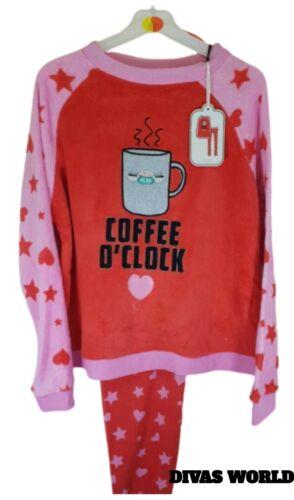 F.R.I.E.N.D.S Coffee Fleece Pj Set Long Sleeve Top Pants Pyjamas Womens Primark