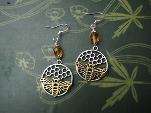 Bee-amp-Honeycomb-Earrings-Goddess-Melissae-Witchcraft-Pagan-Silver