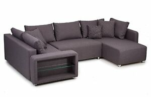 vicco sofa wohnlandschaft bremen led u form couch schlafsofa polsterecke grau. Black Bedroom Furniture Sets. Home Design Ideas