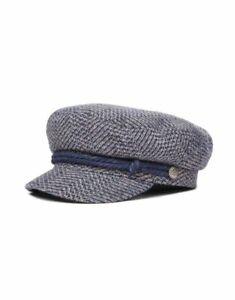 Brixton-Fiddler-Cap-Muetze-Washed-Navy-Mauve-gemustert-00004-Unisex-Neu