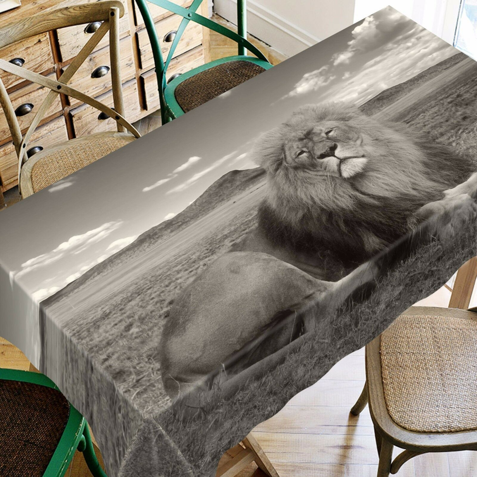 3D Lion Grass Tablecloth Table Cover Cloth Birthday Party AJ WALLPAPER UK Lemon