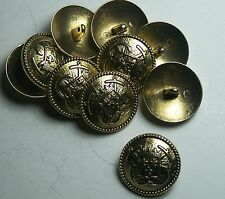 Pack of 8 15mm French Inspired Navy Anchor Gold Military Style Button 2041