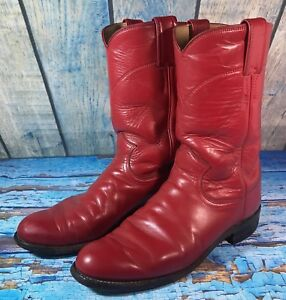 b2a63e20751 Justin•1879•Red Leather•L 3055•Roper Riding•Cowboy Boots•Womens•Size ...