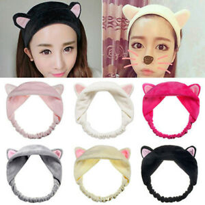 Girls Lovely Fluffy Fancy Cat Ears Costume Makeup Face Clean Spa Hair head band
