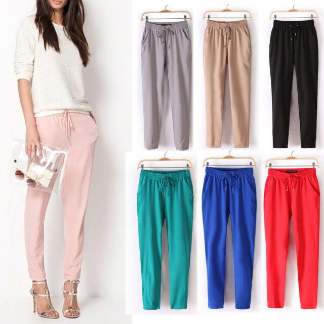 Womens Fashion Casual Sport Drawstring Elastic Waist Chiffon Harem Pants WF-4156