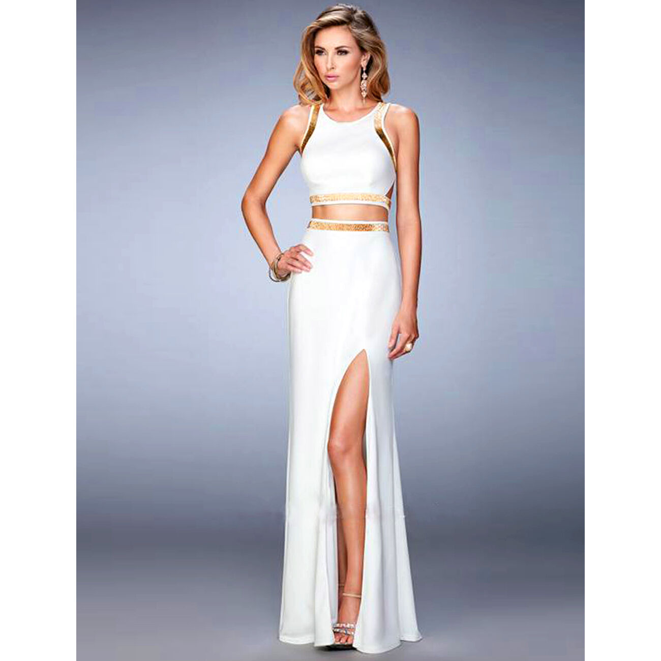 Suzanjas Two-Piece Evening Dress in White gold Crop Top with Skirt  SIZE M - XL