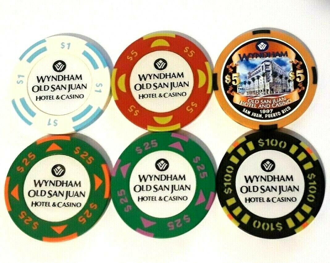 $25 WYNDHAM Casino GREEN PURPLE Chip SAN JUAN Harbor Puerto Rico WYN Bud Jones