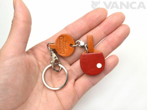 Pingpong paddle Handmade 3D Leather Keychain//charm VANCA Made in Japan #56688