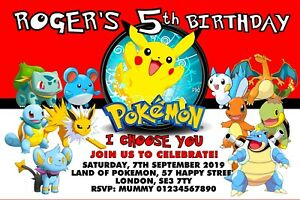 Pokemon Pikachu Party Invitations x 10 c//w Envelopes