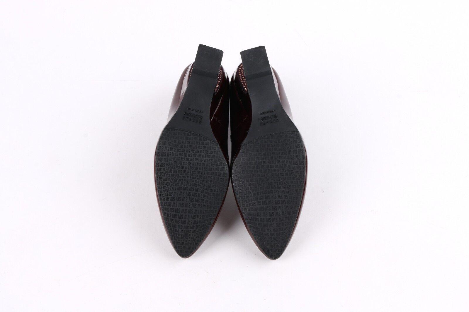 Stuart Weitzman rouge grenat Cuir Verni Strass inversé wedge heels heels heels 6 b13289