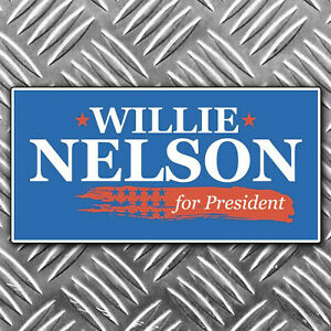 WILLIE-NELSON-FOR-PRESIDENT-bumper-sticker-100-x-50mm
