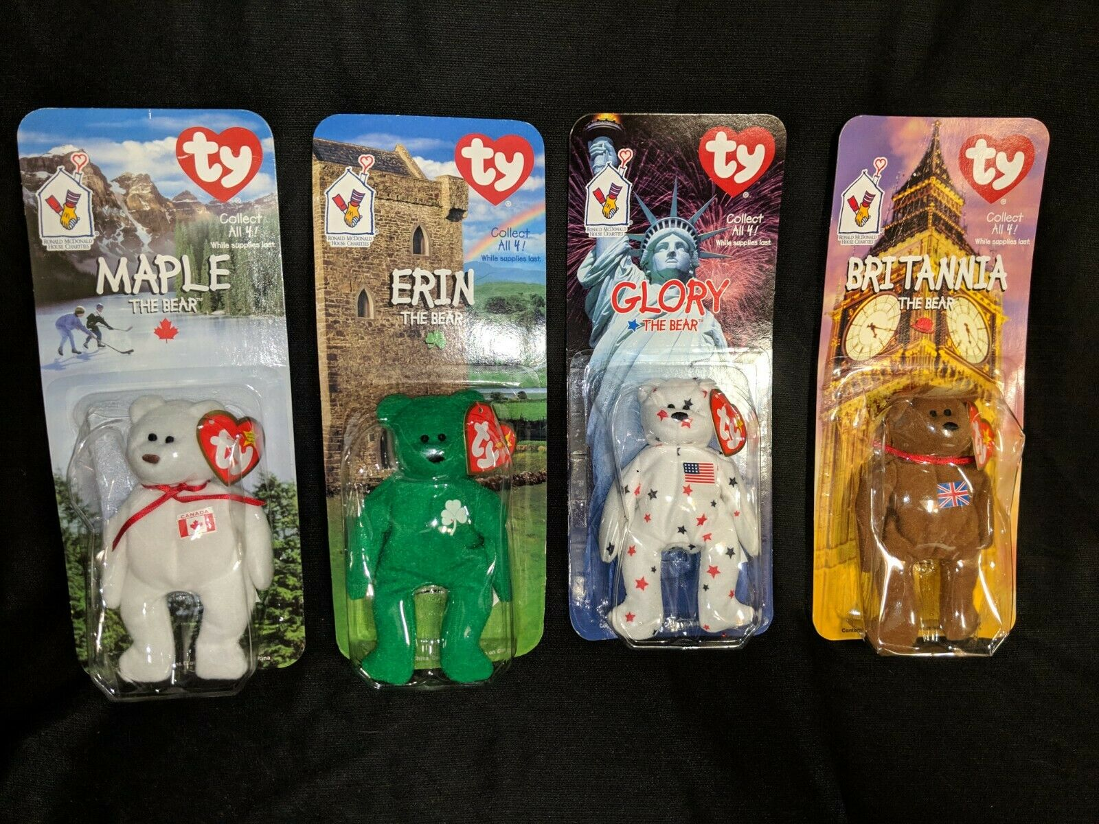 Ty Teenie Beanie Babies Complete set of 4 Britannia, Maple, Erin & Glory NIB