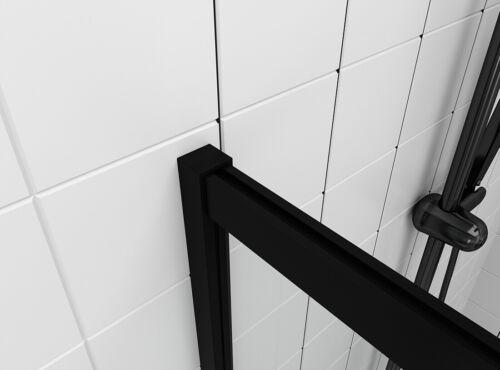 100cm Walk in Duschabtrennung Duschtrennwand 8mm ESG NANO Glas Schwarz Duschwand