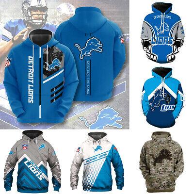 Detroit Lions Hoodies Football Hooded Sweatshirt Men Casual Jacket Pullover Coat