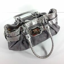 Kathy Van Zeeland Designer Handbag Satchel Bag Purse Silver Gray Vegan