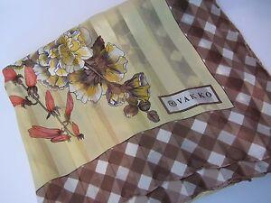 Vakko-Silk-Scarf-Tan-with-Brown-and-White-Check-Border-Floral-41-x-41-EUC-HJC