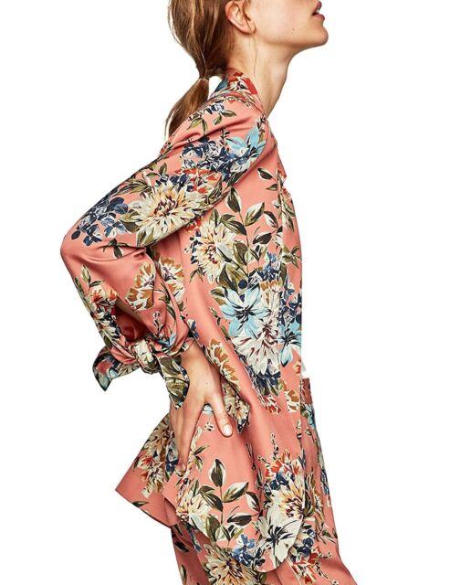NWT Zara Pink Floral Blazer Jacket AW 17 7879/120 Size Small S
