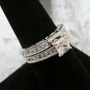 Image Is Loading Modern Solitaire Square Cut 2 Set Silver Platinum
