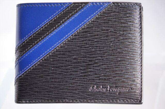 newest b6263 9f1a2 Salvatore Ferragamo Men's Black Wallet Credit Card Case CC Holder Leather