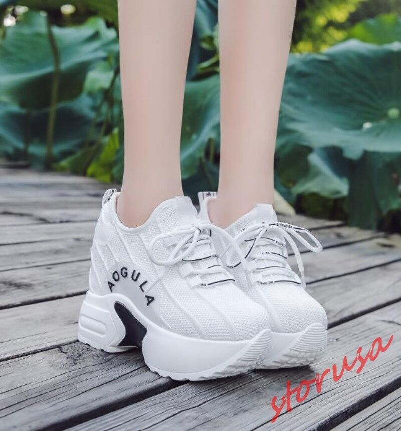 Girls Fashion Lace Up Sneakers Mesh Breathable Hidden High Wedge Heels shoes Hot