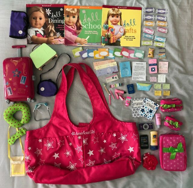 18 Inch Doll American Girl Doll Travel Bag Set Kit Luggage Suitcase Craft Books